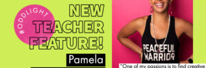 """image that states ODDlight new teacher feature Pamela Weatherspoon with a quote overlayed on top of an image of Pamela that reads """"one of my passions is to find creative ways to bring yoga to those who typically don't think yoga is for them."""""""